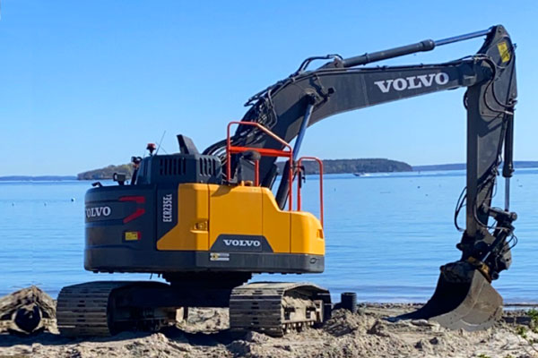 Excavator on Maine Beach
